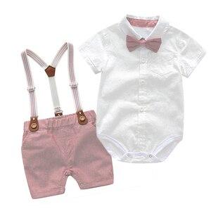 Baby Clothes Summer Boys Suits Newborn Gentleman Party Dress Soft Cotton Solid Jumpsuit + Suspender Pants Infant Toddler Set(China)