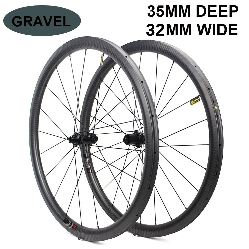 700c Disc Brake <font><b>Bike</b></font> Carbon <font><b>Wheel</b></font> 32*35mm Tubeless Ready Carbon Rim Optional <font><b>6</b></font> Types Of Hub And Pillar 1423 <font><b>Spoke</b></font> 3k/6k/12k/UD image