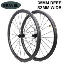 700c Freno A Disco Ruota di Bicicletta del Carbonio 32*35mm Tubeless Ready Cerchio In Carbonio Opzionale 6 Tipi Di Hub E pilastro 1423 Razze 3k/6k/12k/UD