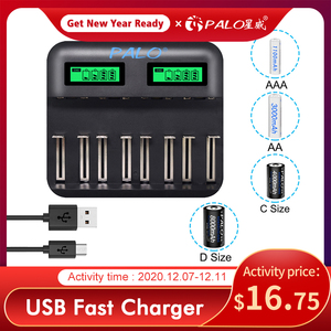 Image 1 - PALO LCD Screen Battery USB NiCd NiMh Battery Charger 8 Slots Universal Smart Charger For AA AAA C D Size Rechargeable Batteries