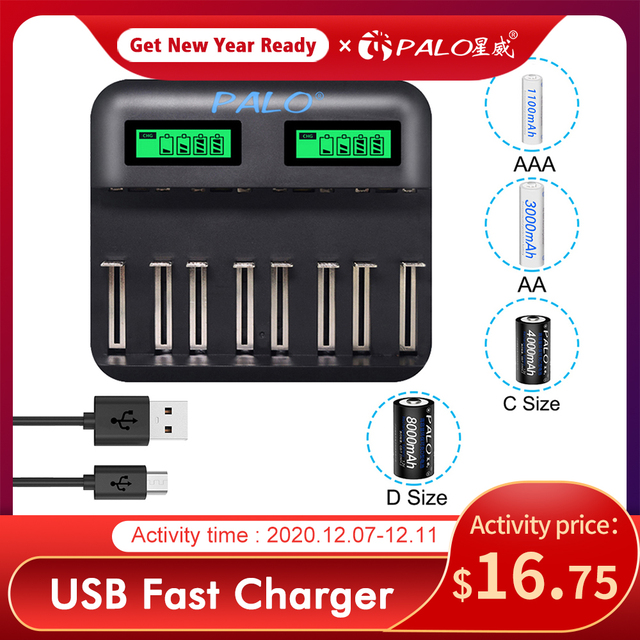 PALO LCD Screen Battery USB NiCd NiMh Battery Charger 8 Slots Universal Smart Charger For AA AAA C D Size Rechargeable Batteries