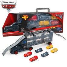 Disney Pixar – Voiture tendance du dessin animé Cars 3 pour enfant, véhicule miniature en alliage métallique moulé sous pression, camion de transport avec 6 petits engins de course, McQueen et Jakson Storm, jouet,