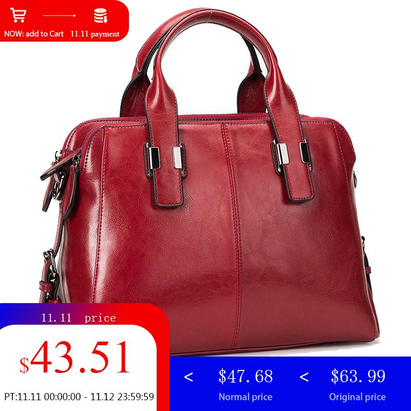 LY.SHARK Female Bag Women Genuine Leather Bag For Women Shoulder Bag Famous Brand Woman Handbags 2019 Handbag Ladies Red Black