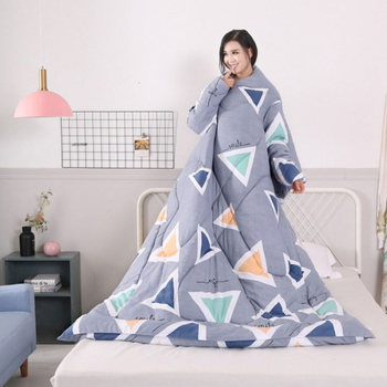 Lazy Sleeping Quilt Blanket with Sleeves Thick Warm Winter Home Bedding FPing