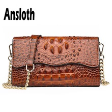 Ansloth Crocodile Design Shoulder Bag Women Small Square Ladies Chain Crossbody Female PU Leather Messenger HPS660