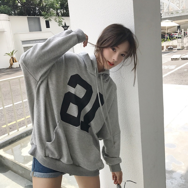 2019 Autumn And Winter New Style Korean-style College Style Printed Letter Thin Hoodie Loose-Fit Slimming Jacket WOMEN'S Dress F