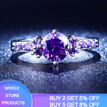 New Fashion 2.0ct Lab Amethyst Ring 925 Solid Silver Rings for Women Crystal Engagement Ring Silver 925 Gemstones Jewelry R199