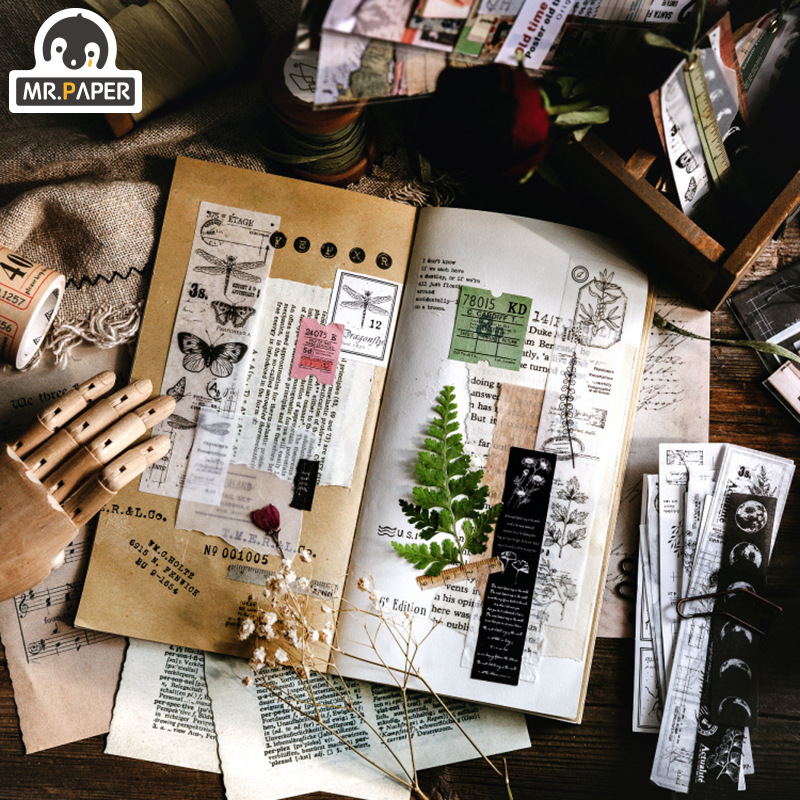 Mr.paper 30Pcs/pack 8 Designs Old Time Scenery Antique Ticket Artistic Stickers Bullet Journal Deco Stationery Children Stickers 4