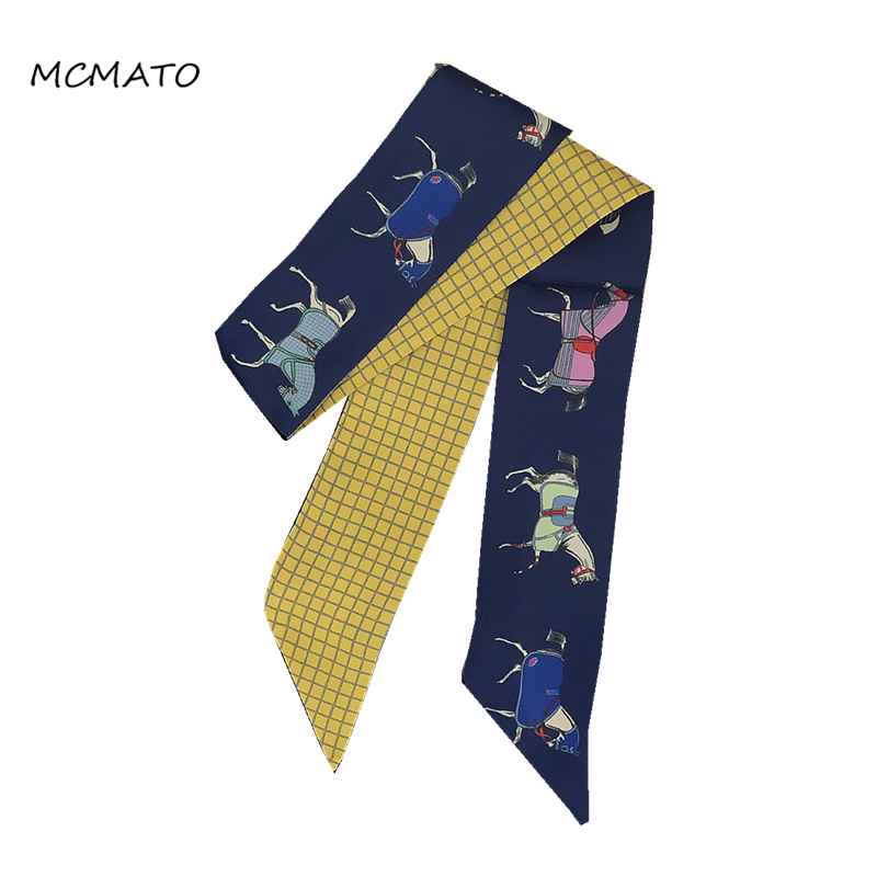 Horse Print Woman Twilly Silk Scarf 88cm*5cm Long Small Scarf Fashion Neckerchief Skinny Scarves For Ladies Bag Ribbons Womens