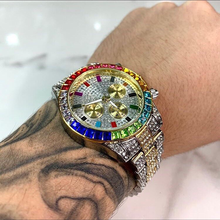Männer Uhr Luxus Marke Mens Gold männer Uhr Quarz Uhr Chronograph bunte Diamant Stahl Uhr relogio masculino 2020 Diamant