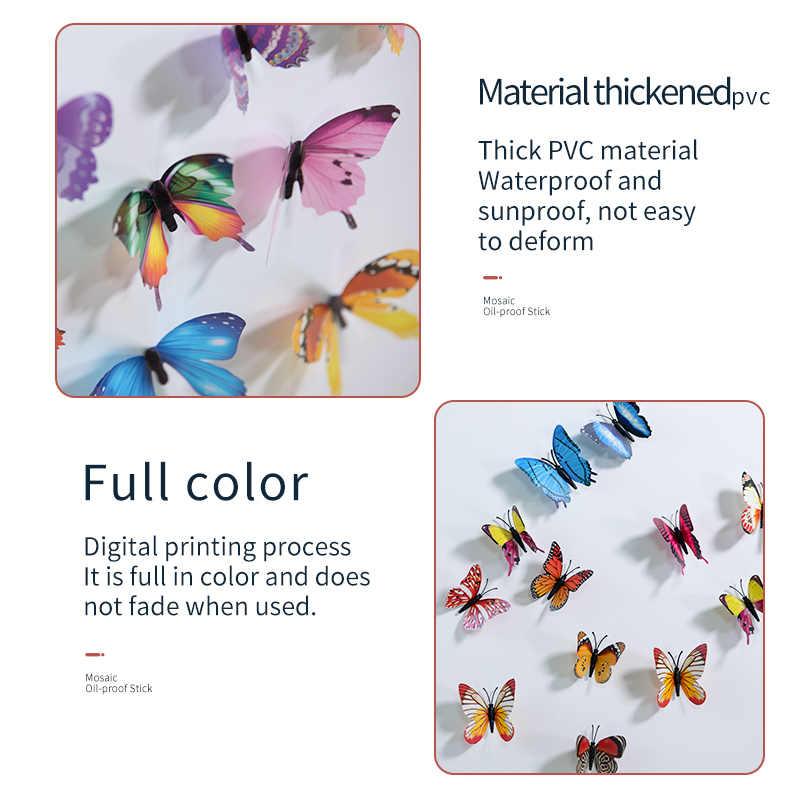 12Pcs 3D Simulatie Vlinder Sticker Home Decoratie Koelkast Muurstickers Bruiloft Decoratie Nep Vlinder