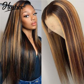 Allove Highlight peruka miód blond koronkowa peruka na przód s brazylijska prosta koronkowa peruka na przód koronkowa część peruka 13X4 Ombre ludzki włos peruka tanie i dobre opinie HOSHEE Proste CN (pochodzenie) Remy włosy Średnia wielkość Średni brąz Wszystkie kolory Swiss koronki Brazylijski włosy
