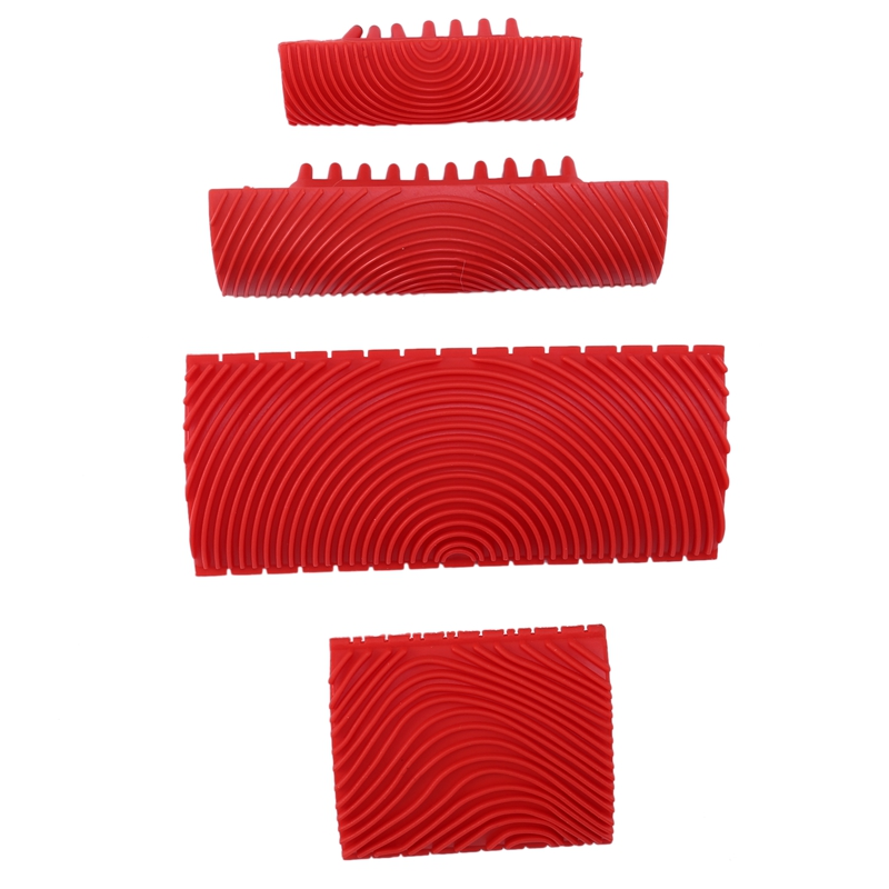 4PCS Wood Graining Tool Set Rubber Wood Graining Pattern Wall Paint Painting Tool for Wall Painting Decoration DIY