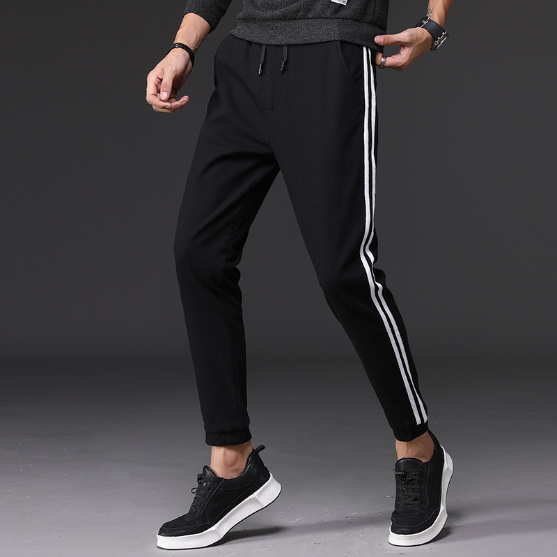 Men'S Wear Spring And Autumn MEN'S Casual Pants Teenager Thick Plus Velvet Casual Pants Men's Elasticity Sports Men's Trousers