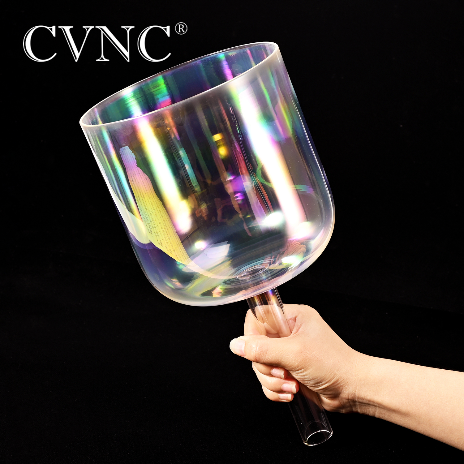 """CVNC  7""""Cosmic Light  Clear Crystal Singing Handle Bowl  any one Musical Note C  D E F G  A BBells & Chimes   -"""