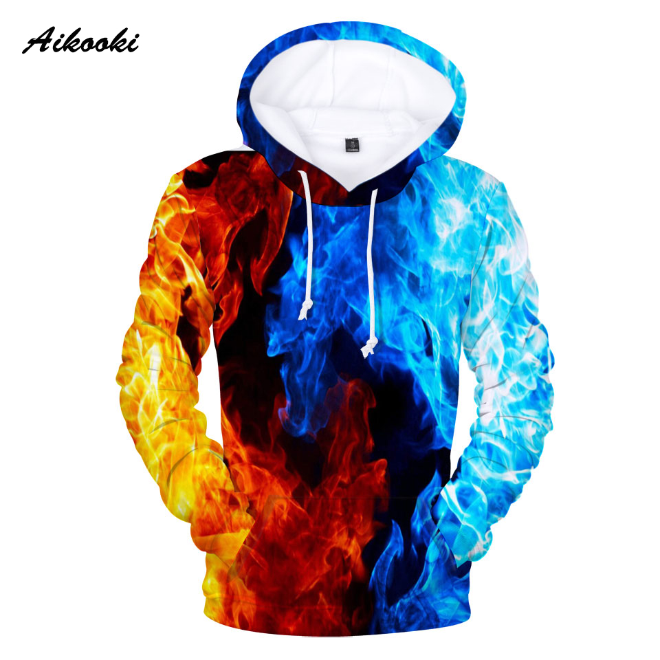 Aikooki Yellow And Blue 3D Fire Autumn Men Sweatshirt Women Hoodies Outwear Winter Handsome Hooded Male 3D Hoody Hip Hop Clothes