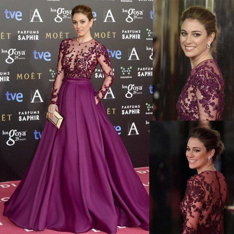 IM221 Summer Style Silk Chiffon Purple Prom Dress Long Sleeves Vestido Formal Evening Gowns High Neck A Line Vestidos Para Festa