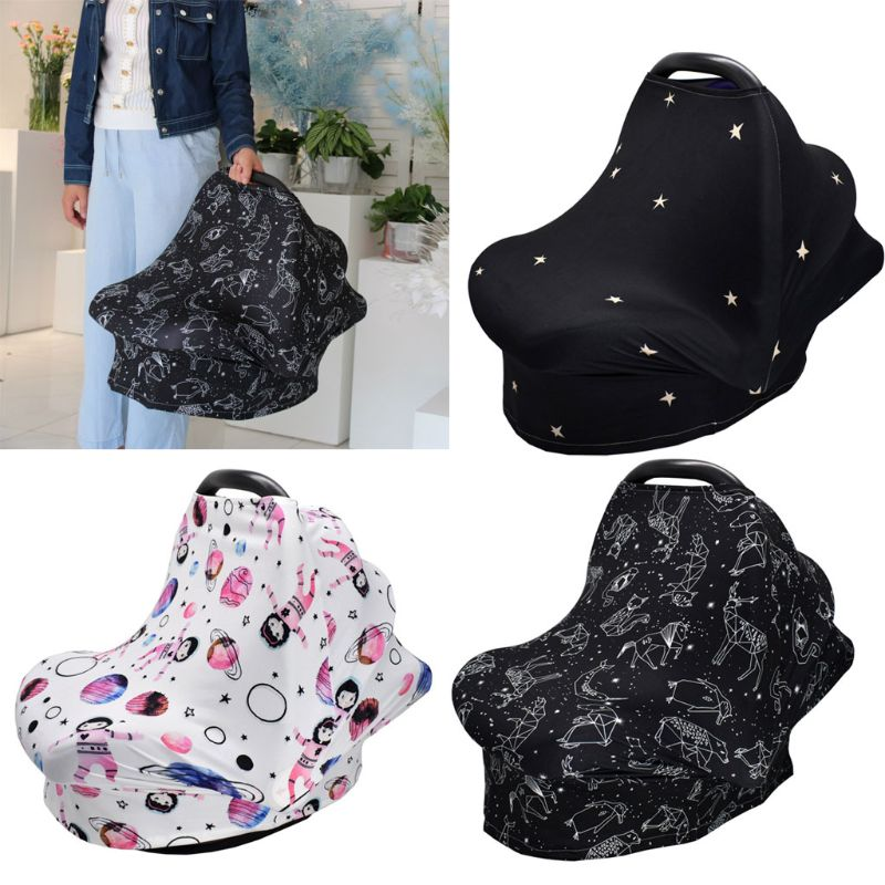 4-in-1 Multi-use Baby Stretchy Cover Car Seat Canopy/Nursing Cover/Shopping Cart Cover/Infinity Scarf Perfect Gift for Baby #905