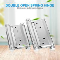 2pcs Double Open Spring Hinge Automatic Closure Stainless Steel Door Hinges