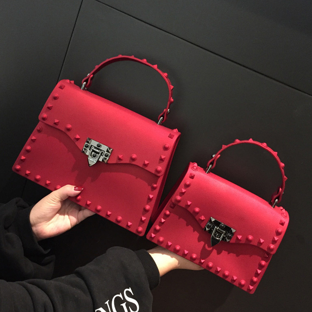 Rivets Women Handbags Candy Color Jelly Women Messenger Bags Luxury Designer PVC Womens Shoulder Bags Females Handbag 2020 New