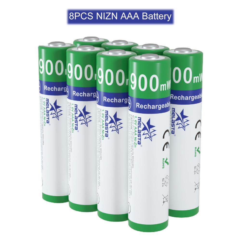 Melasta 8 pièces AAA 1.65V 900mWh ni-zn batterie rechargeable NIZN batteries pour appareil photo numérique jouets CD lecteurs horloge télécommande