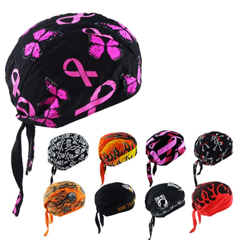 Unisex Motorcycle Biker Skull Cap Beanie Hip Hop Dance Butterfly Print Bandana Hat Helmet Liner Head Wrap Adjusted Pirate Scarf