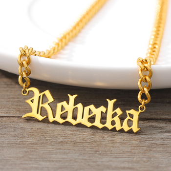 Custom Old English Personalized Nameplate Necklaces For Women Stainless Steel Gold Chain Choker Necklace with Box Jewelry Gift custom name choker necklace for women men stainless steel cuban chain gold necklace nameplate necklaces boho jewelry collares