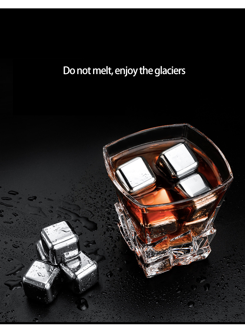 Beverage - Stainless Steel 304 Stones Ice Cubes Quick Frozen Ice Cubes Whiskey Cooler Rocks 4/6/8pcs Metal Ice Tools With Plastic Box