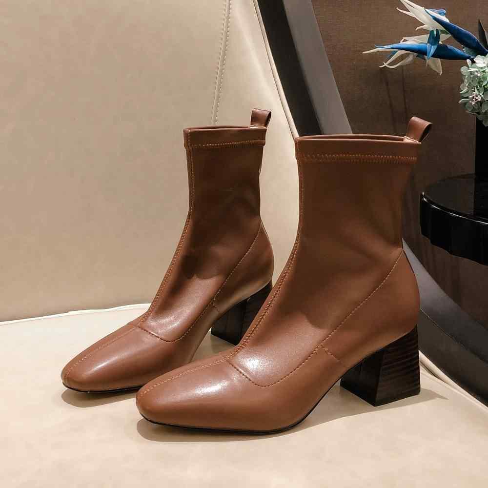 Superstar kare ayak mikrofiber yüksek topuklu kadınlar üzerinde kayma yarım çizmeler muhtasar pist moda botları katı parti kış ayakkabı L87