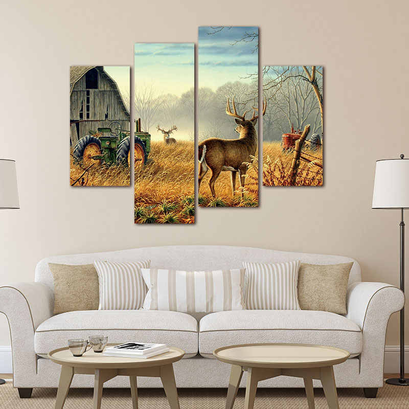 4 Panels Frameless Wonderful Nature Trees Fences Birds Mist Deer Barn Farm Canvas Painting Wall Art Pictures for Living Room