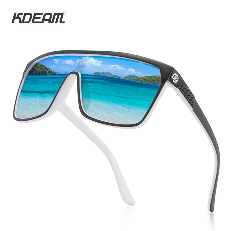 KDEAM Mirrored Oversize Shield Sunglasses Men Polarized & UV400 Protection Sun Glasses Women Vintage Windproof Goggles  KD803