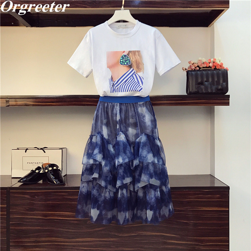 Summer New Two Piece Set Women Chic Sequined Earring Character Print Tshirt And Ink Printing Elastic Ball Gown Mesh Skirt Suits