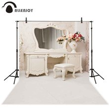 Allenjoy photography background dressing table mirror Bridal white wedding shower photocall backdrop photophone decoration props