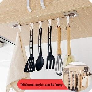 Image 1 - Küche Gabgets Schrank 6 Haken Startseite Organizer Lagerung Rack Speisekammer Brust Werkzeuge Handtücher Aufhänger Schrank Handtuch Rack Lagerung Regal