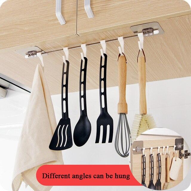 Küche Gabgets Schrank 6 Haken Startseite Organizer Lagerung Rack Speisekammer Brust Werkzeuge Handtücher Aufhänger Schrank Handtuch Rack Lagerung Regal