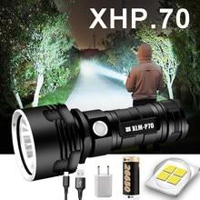 Lanterna de led l2 xhp50, farol tático super potente recarregável usb lâmpada à prova d' água ultra brilhante para acampamento