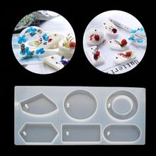 6 Cavity Cabochon Gemstone Jewelry Silicone Mold with Hole Jewelry Making Tools
