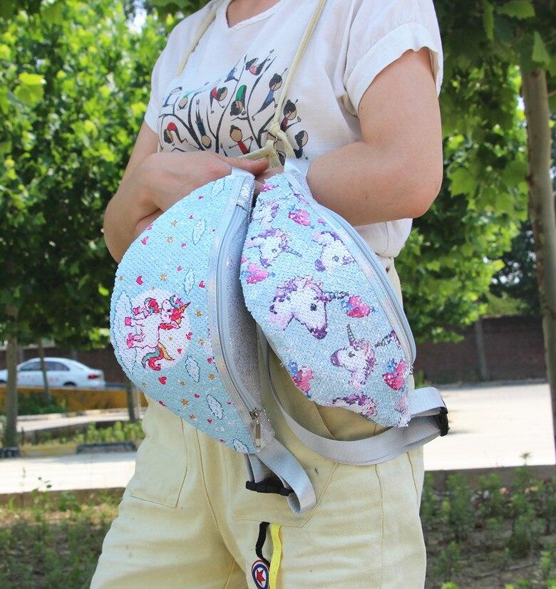 Waterproof PVC Unicorn Sequins Girls Belt Waist Packs Fanny Girls Belt Mermaid Sport Bag Cartoon For Women Chest Waist Bag Pack