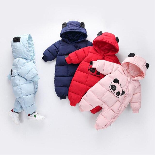 Panda Printed Baby Winter Hooded Snowsuit 5