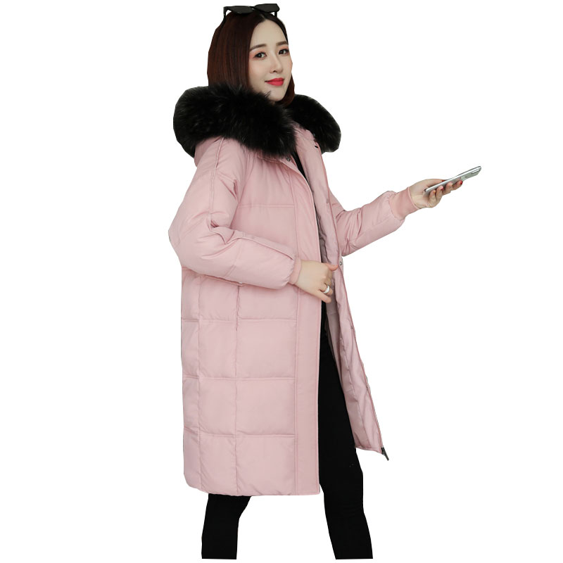 Chic Long Fur Coat Women Hooded Bakery Winter Down Coat Heavy Jacket Oversize Thick Warm Cotton Padded Wadded Parkas Big Pocket
