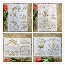 4 шт./компл. цветы высокие каблуки девушки любят А4 DIY трафарет настенная роспись, раскраски скрап-фотоальбом декоративные шаблон бумаги карты