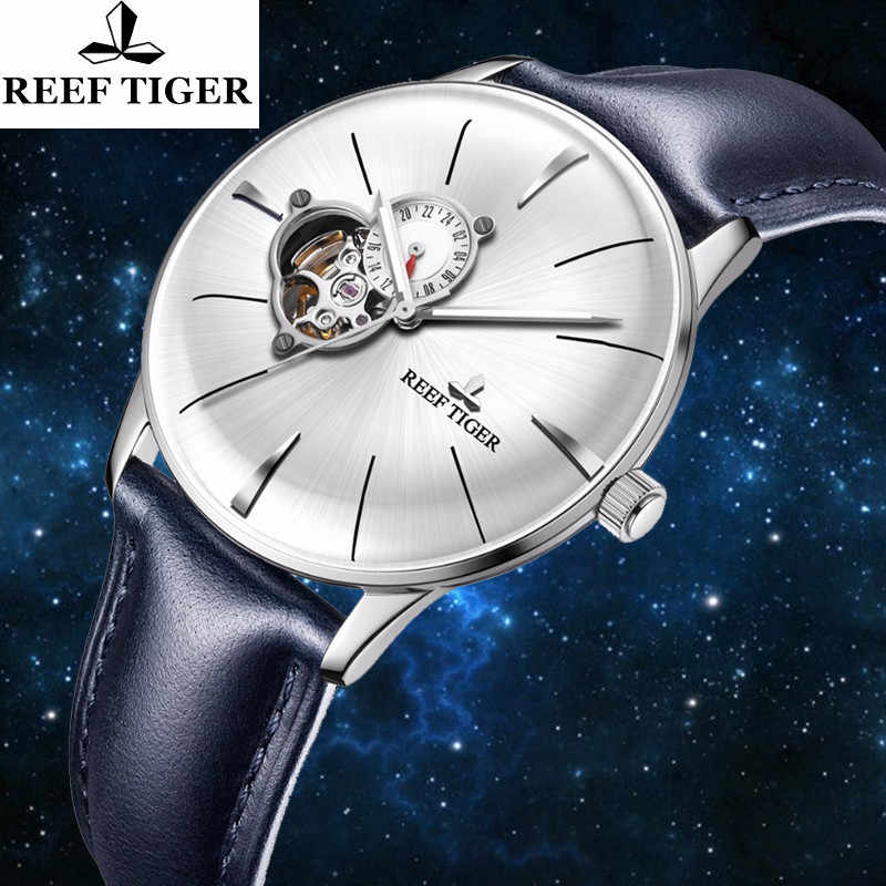 Reef Tiger Brand Tourbillon Dial Luminous Pointer Automatic Watches Top Luxury Mechanical Leather Men's Watch Relogio Masculino