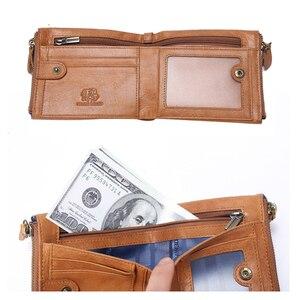 Image 5 - バイソンデニム男性財布牛革男性財布ショートコイン財布ヴィンテージファスナー財布ブランドカードホルダー財布 W4403