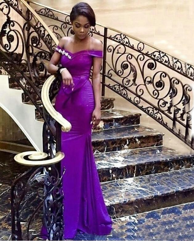Fashion African Purple Mermaid Prom Dresses Long Off Shoulder Elastic Satin Prom Gowns Sweep Train Customized Women Formal Dress