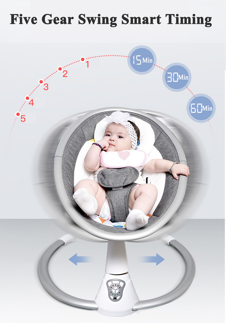 Hc12dff9a47de45b8a8d071f590bd3c57Y Babyinner Electric Baby Rocking Chair Bassinet Newborn with Mosquito Kids Swing 360 Degrees Rotatable Cradle Baby Sleeping Bed