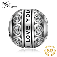 JewelryPalace Love You 925 Sterling Silver Beads Charms Silver 925 Original For Bracelet Silver 925 original Bead Jewelry Making цена в Москве и Питере