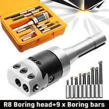 """9 шт. """" Точная R8 Расточная головка R8 хвостовик Карбид расточной бар набор расточной инструмент для фрезерного станка"""