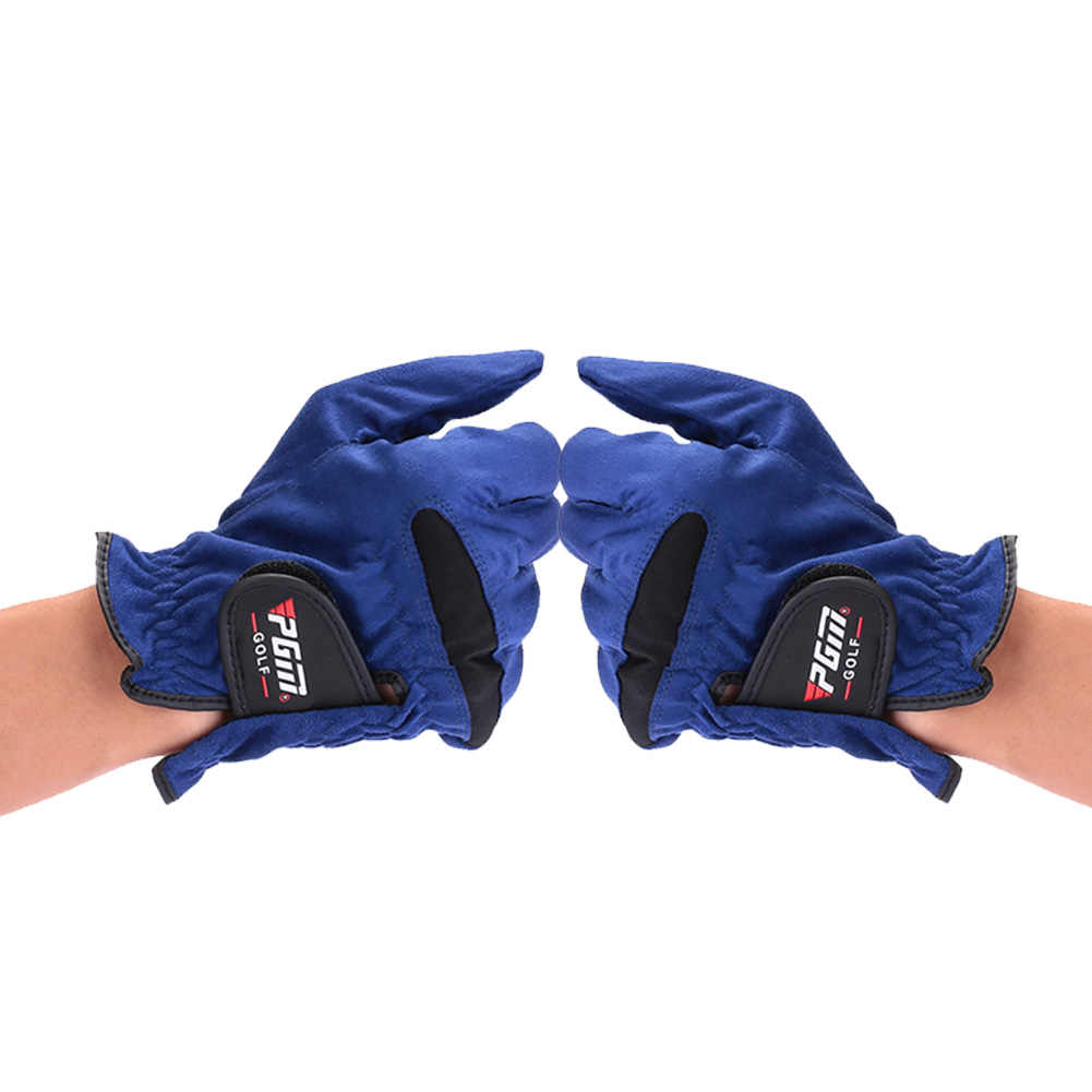 Blue Microfiber Fabric Breathable Non-Slip Golf Gloves Right Left Hand Durable