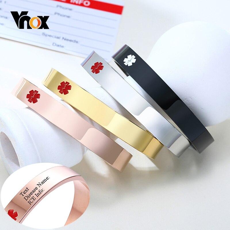 Vnox ücretsiz kişiselleştirin Engrave paslanmaz çelik tıbbi manşet bileklik bileklik erkekler kadınlar için özel SOS takı