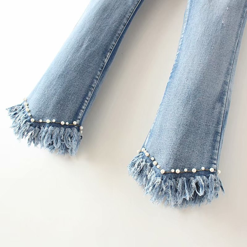 Tide Fashion Beading Tassel Women Flare Jeans Casual Pocket Elastic Slim Denim Pants Female Plus Size Trousers
